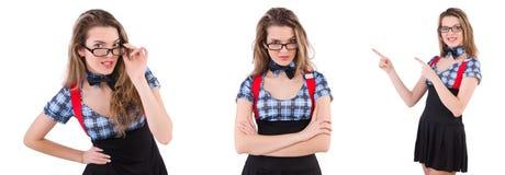 在白色隔绝的女小学生 免版税库存图片