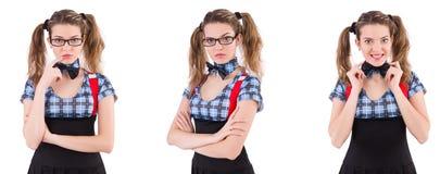 在白色隔绝的女小学生 免版税库存照片
