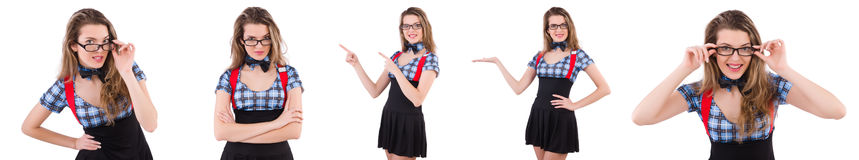 在白色隔绝的女小学生 库存图片