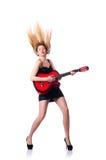 女性吉他演奏员 图库摄影