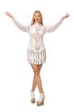 在白色隔绝的妇女佩带的白色礼服 库存照片