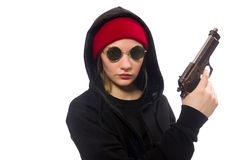 在白色隔绝的妇女小流氓 免版税图库摄影