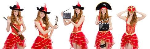 在白色隔绝的妇女海盗 免版税图库摄影