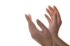 在白色隔绝的妇女的医治用的手 免版税库存照片