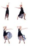 在白色隔绝的妇女跳舞 免版税库存图片