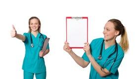 在白色隔绝的妇女医生 免版税库存图片