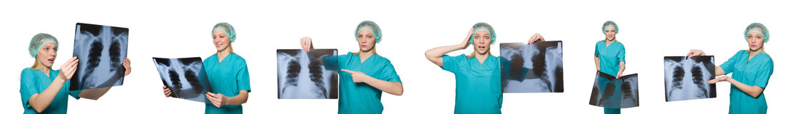 在白色隔绝的妇女医生 免版税库存照片