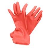 在白色隔绝的对红色橡胶清洁手套 免版税库存照片