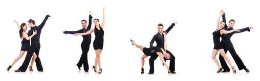 在白色隔绝的对舞蹈家 免版税库存图片