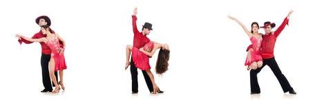 在白色隔绝的对舞蹈家 免版税库存照片