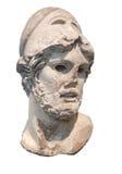 在白色隔绝的希腊战士的古老雕象 免版税库存图片
