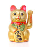 在白色隔绝的幸运的中国猫 免版税库存图片
