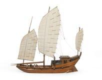 在白色隔绝的式样中国或印地安破烂物小船 免版税库存图片