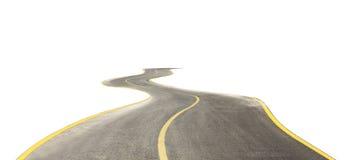 在白色隔绝的弯曲的路 免版税库存照片