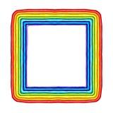 在白色隔绝的彩色塑泥五颜六色的彩虹框架雕塑 免版税库存图片