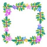 在白色隔绝的彩色塑泥五颜六色的花卉框架雕塑 库存图片