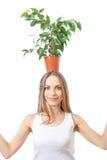 在白色隔绝的微笑的妇女举行室内植物 库存图片