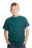 在白色隔绝的微笑的男孩 免版税库存图片