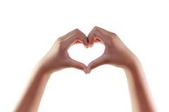 以在白色隔绝的心脏的形式女性手 库存照片