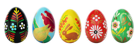 在白色隔绝的手画复活节彩蛋 春天样式 免版税图库摄影