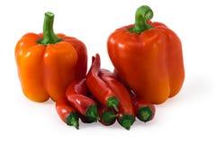 在白色隔绝的新鲜的红辣椒的小组 免版税库存照片