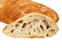 在白色隔绝的新鲜的被烘烤的意大利chiabatta面包 库存照片