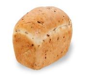 在白色隔绝的方形的白面包 免版税库存图片
