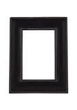 在白色隔绝的方形的皮革艺术照片框架 库存图片
