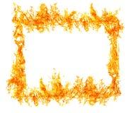在白色隔绝的明亮的橙色火焰 免版税库存照片