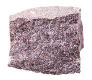 在白色隔绝的明矾石矿物石头 免版税库存图片