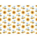在白色隔绝的春天蜂和向日葵无缝的样式 免版税库存照片
