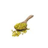 在白色隔绝的木匙子的绿豆 免版税库存图片