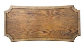 在白色隔绝的木标志 免版税库存照片