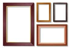 在白色隔绝的木画框 库存图片