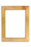 在白色隔绝的木画框 库存照片