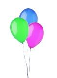 在白色隔绝的束五颜六色的飞行气球 免版税库存图片