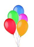 在白色隔绝的束五颜六色的飞行气球 图库摄影