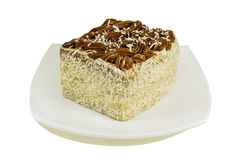 在白色隔绝的板材的椰子蛋糕 库存图片