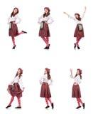 在白色隔绝的格子花呢披肩红色衣物的俏丽的女孩 库存图片