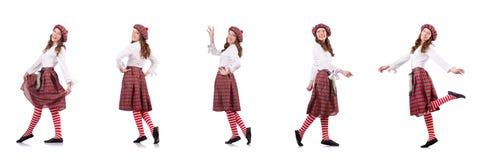 在白色隔绝的格子花呢披肩红色衣物的俏丽的女孩 免版税库存照片