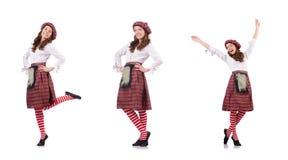 在白色隔绝的格子花呢披肩红色衣物的俏丽的女孩 免版税库存图片