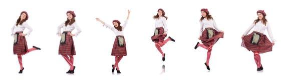 在白色隔绝的格子花呢披肩红色衣物的俏丽的女孩 免版税图库摄影