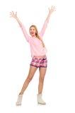 在白色隔绝的桃红色夹克的俏丽的微笑的女孩 库存照片