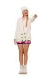 在白色隔绝的桃红色夹克的俏丽的微笑的女孩 免版税库存图片