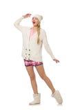 在白色隔绝的桃红色夹克的俏丽的微笑的女孩 图库摄影
