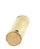 在白色隔绝的桦树日志 免版税库存图片