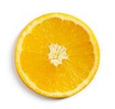 在白色隔绝的橙色切片,从上面 库存照片