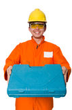 在白色隔绝的橙色工作服的人 库存图片
