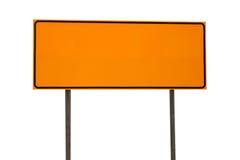 在白色隔绝的橙色空白的长方形路标 图库摄影