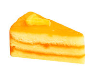 在白色隔绝的橙色蛋糕 免版税图库摄影